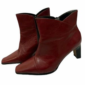 Red Leather Square Toe Heeled Booties size 7 vintage style